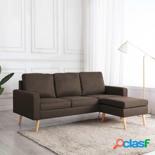 Sofá de 3 plazas con reposapiés de tela marrón