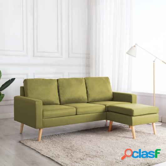 Sofá de 3 plazas con reposapiés de tela verde