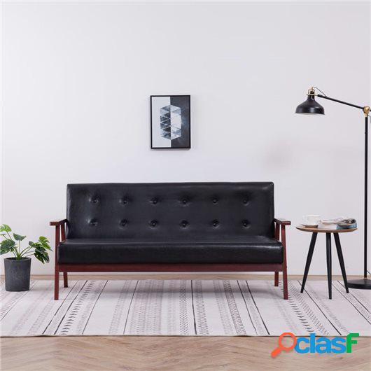 Sofá de 3 plazas cuero sintético negro