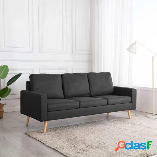 Sofá de 3 plazas de tela gris oscuro