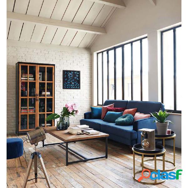 Sofá de 3 plazas de terciopelo azul Tova