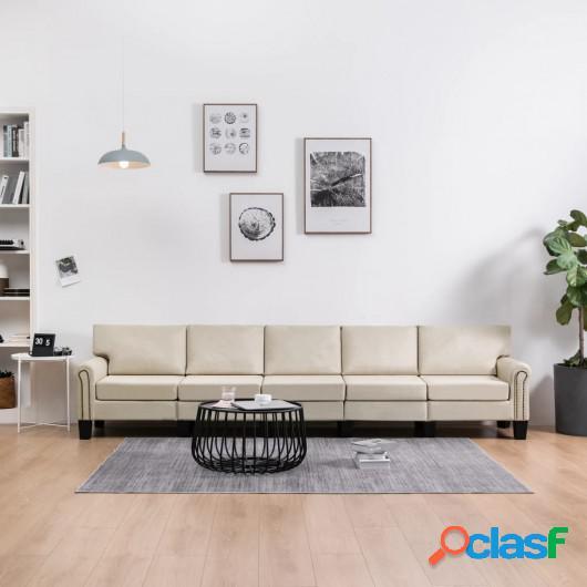 Sofá de 5 plazas tela color crema