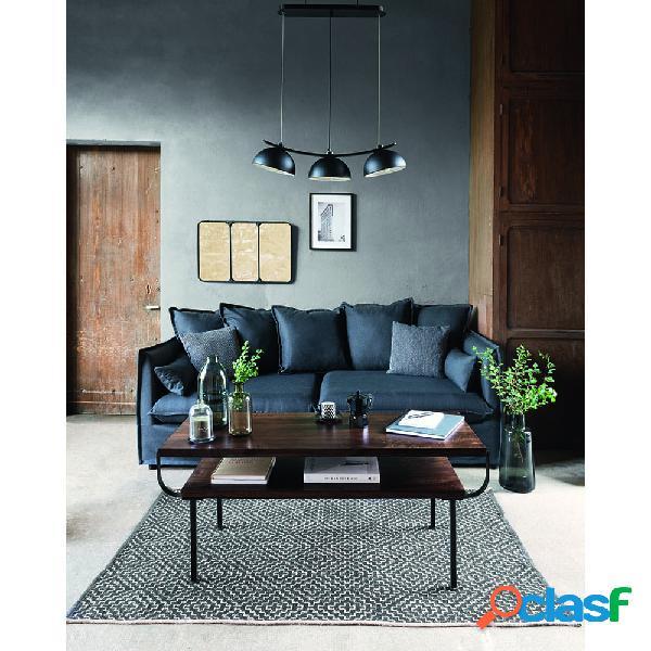 Sofá gris oscuro con cojines 210x104x69/78 cm