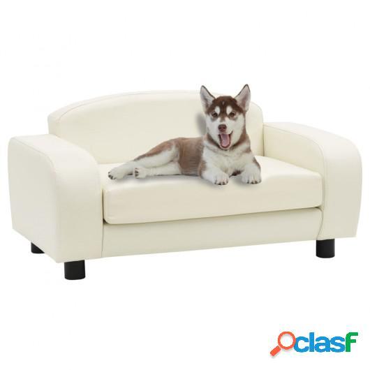 Sofá para perros cuero sintético blanco crema 80x50x40 cm