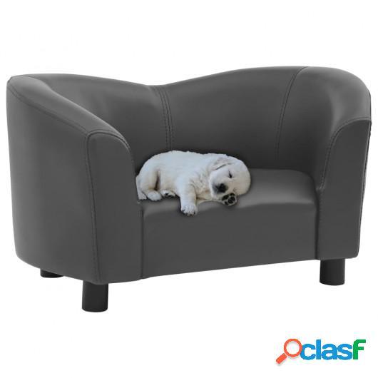 Sofá para perros cuero sintético gris 67x41x39 cm