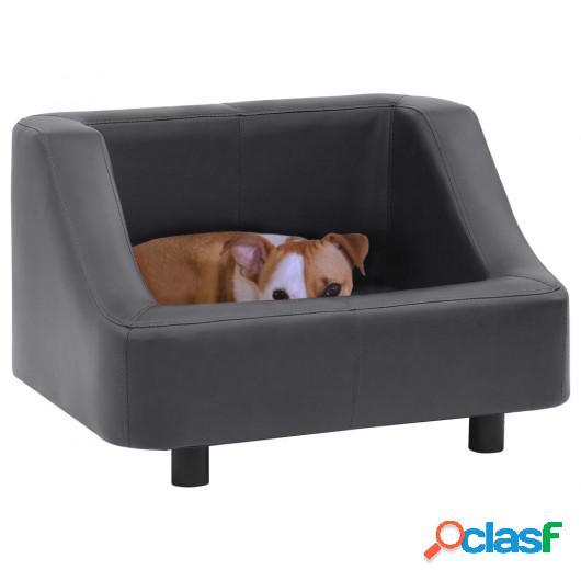 Sofá para perros cuero sintético gris 67x52x40 cm