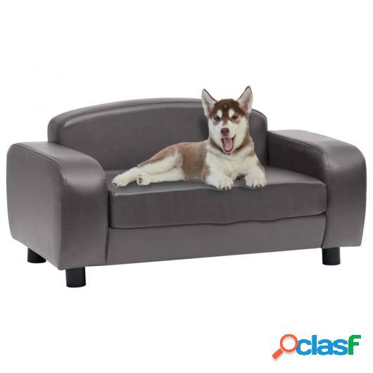 Sofá para perros cuero sintético gris 80x50x40 cm