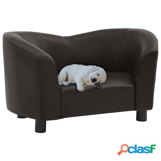 Sofá para perros cuero sintético marrón 67x41x39 cm