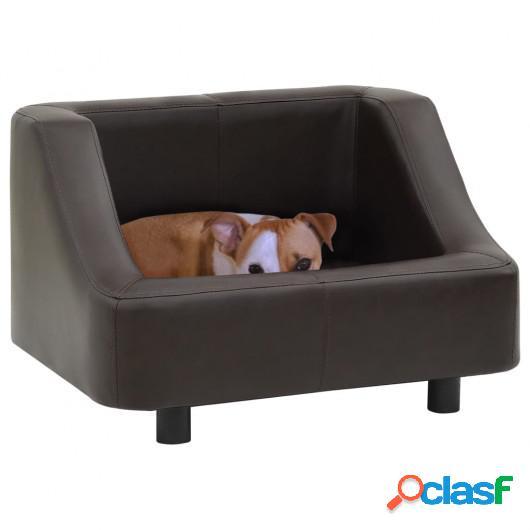 Sofá para perros cuero sintético marrón 67x52x40 cm