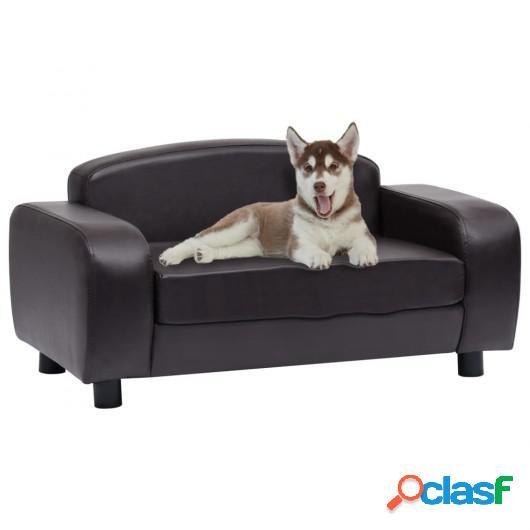 Sofá para perros cuero sintético marrón 80x50x40 cm