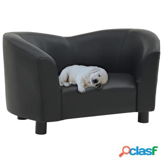 Sofá para perros cuero sintético negro 67x41x39 cm