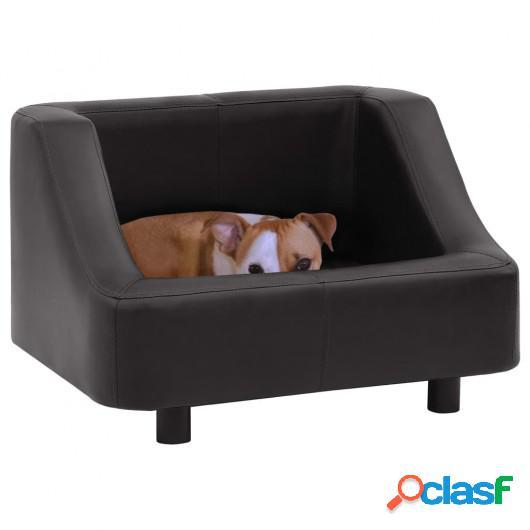 Sofá para perros cuero sintético negro 67x52x40 cm