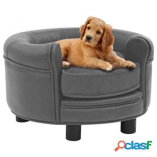 Sofá para perros felpa y cuero sintético gris 48x48x32 cm