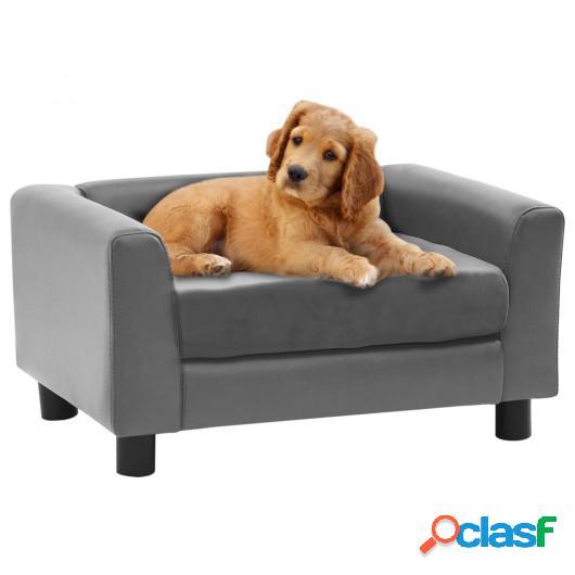 Sofá para perros felpa y cuero sintético gris 60x43x30 cm