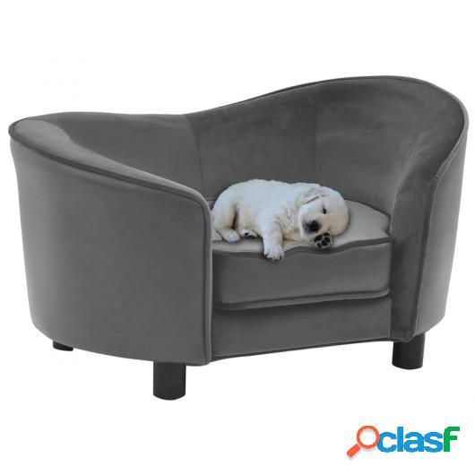 Sofá para perros felpa y cuero sintético gris 69x49x40 cm