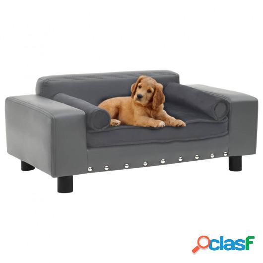 Sofá para perros felpa y cuero sintético gris 81x43x31 cm