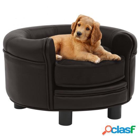 Sofá para perros felpa y cuero sintético marrón 48x48x32