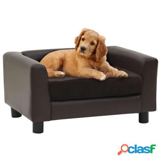 Sofá para perros felpa y cuero sintético marrón 60x43x30