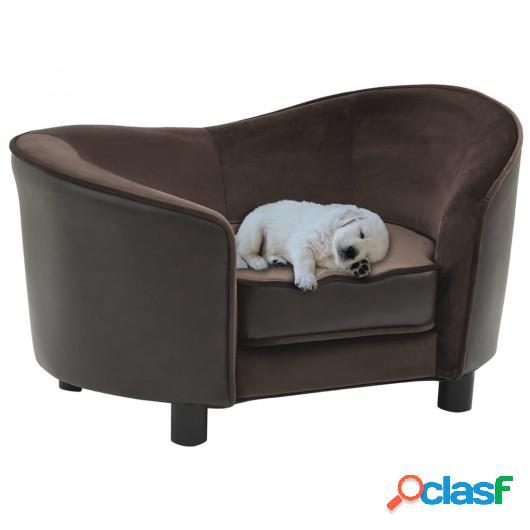 Sofá para perros felpa y cuero sintético marrón 69x49x40