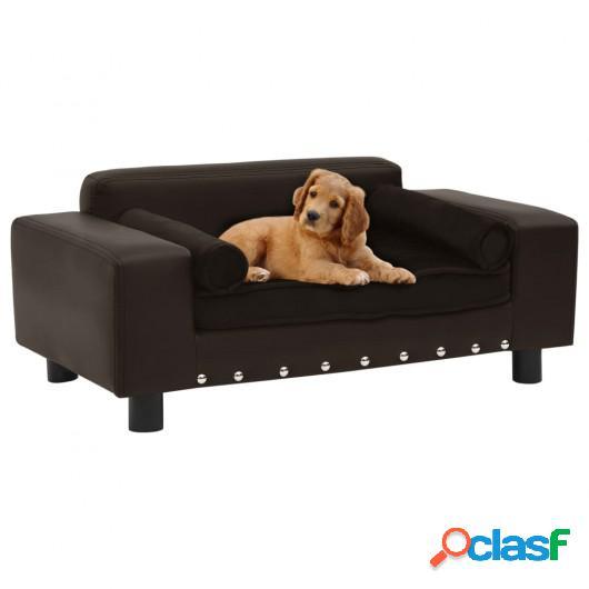 Sofá para perros felpa y cuero sintético marrón 81x43x31