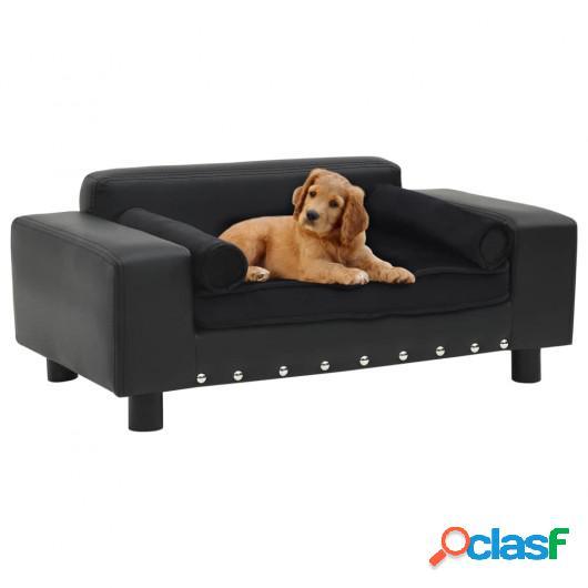Sofá para perros felpa y cuero sintético negra 81x43x31 cm