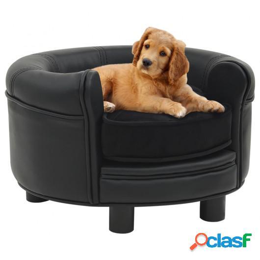 Sofá para perros felpa y cuero sintético negro 48x48x32 cm