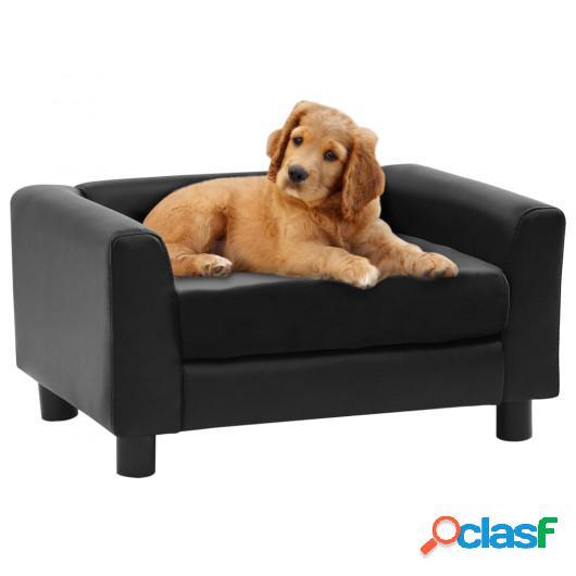 Sofá para perros felpa y cuero sintético negro 60x43x30 cm