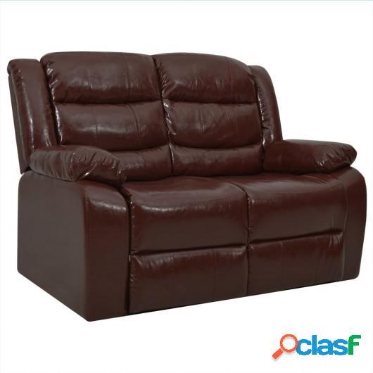 Sofá reclinable de 2 plazas cuero sintético marrón