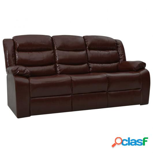 Sofá reclinable de 3 plazas cuero sintético marrón