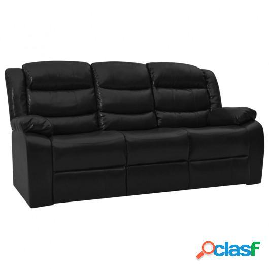 Sofá reclinable de 3 plazas cuero sintético negro