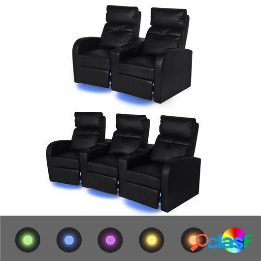 Sofás reclinables LED 2 uds 2+3 plazas cuero artificial