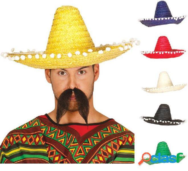 Sombrero de Mexicano con Borlas en varios colores de 45 cm