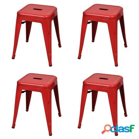 Taburetes apilables 4 unidades acero rojo
