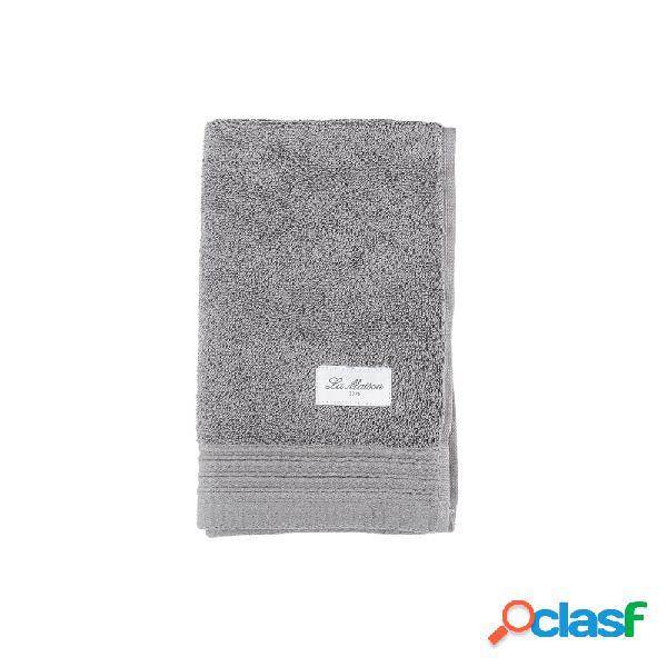 Toalla de algodón gris oscuro Aries 50x30 cm.