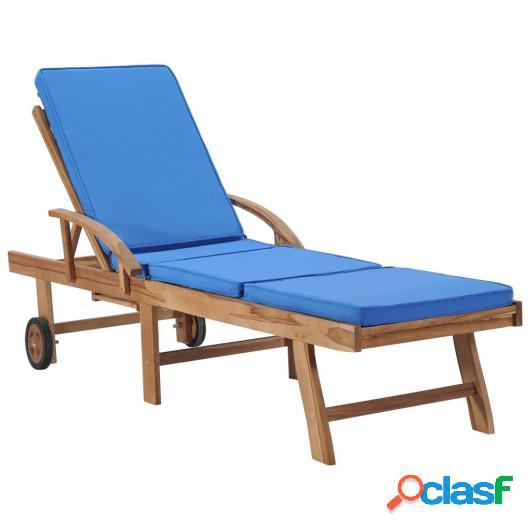Tumbona con cojín madera maciza de teca azul