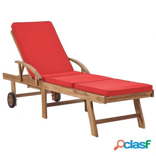 Tumbona con cojín madera maciza de teca rojo
