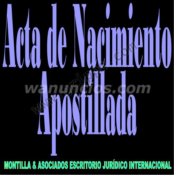 Apostilla de Partida de Nacimiento / Acta de Nacimiento /