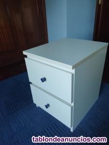 Cómoda baja de 2 cajones, blanco. 40x55 cm.