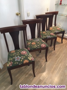 Sillas de madera caoba tapizadas en tela