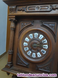Reloj francés de pared antiguo de péndulo, con termómetro