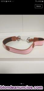 Vendo cinturón hípica piel color rosa y regalo bolso