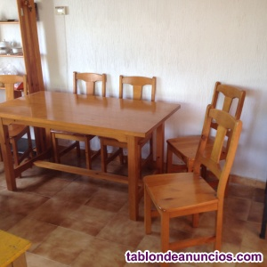 Mesa de comedor con 6 sillas de madera maciza