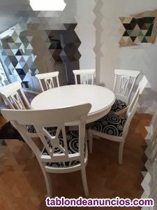 Conjunto mesa y seis sillas de comedor de madera