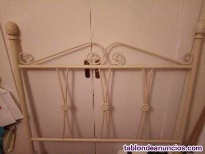 Cabecero de forja blanco roto 90 cm