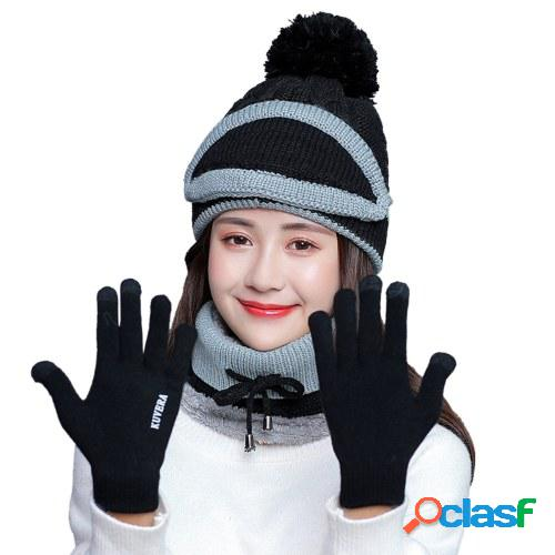 4 piezas mujer invierno cuello bufanda caliente conjunto