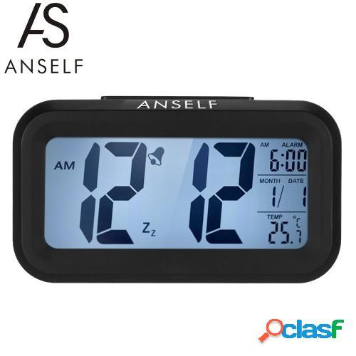 Anself LED Reloj despertador digital Snooze repetido Sensor