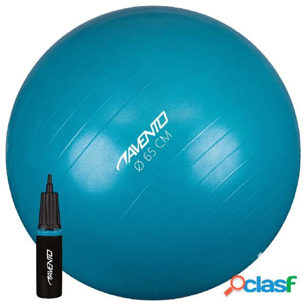 Avento Pelota de fitnes/gimnasio y bomba azul 65 cm