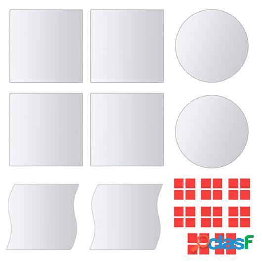 Azulejos de espejo de diversas formas vidrio 8 unidades