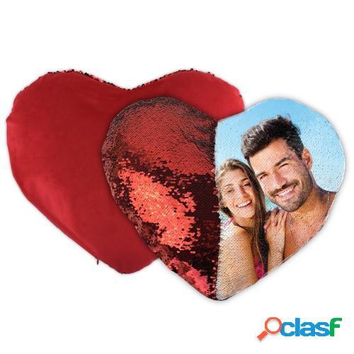 Cojín personalizado lentejuelas reversible corazón rojo
