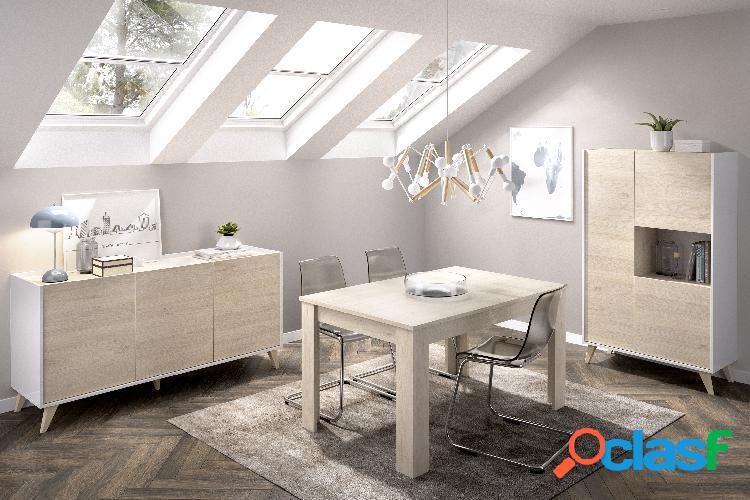 Conjunto de muebles de salón Dekit Ness 4 Blanco Natural